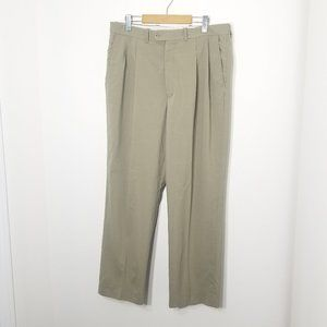 Khaki | Tan Pleated Front Slacks Pants Pockets 36